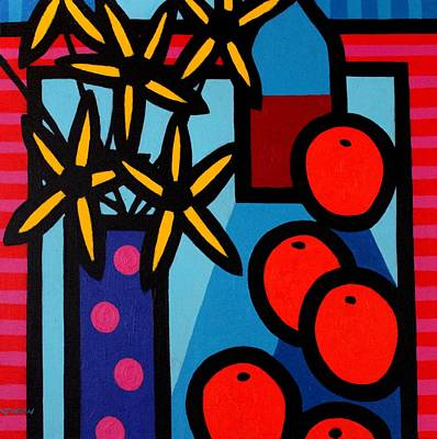 Cadmium Red Painting - Still Life With Five Oranges by John  Nolan
