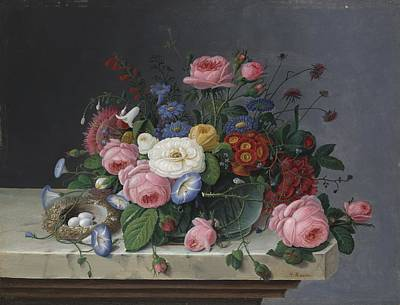 Morning Glories Painting - Still Life With Flowers And Bird's Nest by Severin Roesen