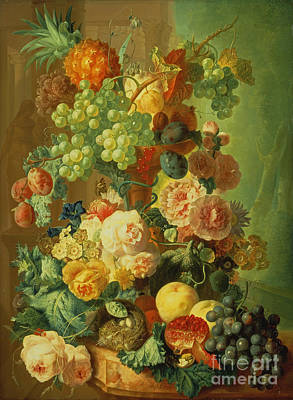 Still Life With Fruit And Flowers Art Print by Jan van Os