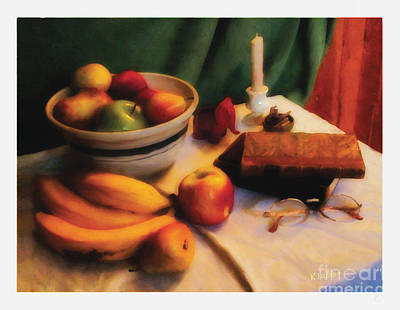 Art Print featuring the digital art Still Life With Fruit by David Klaboe