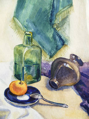 Traditional Still Life Painting - Still Life With Green Bottle by Irina Sztukowski