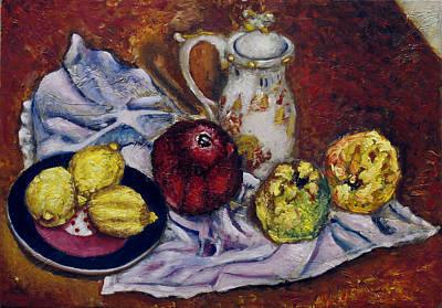 Pomegranades Painting - Still Life With  Lemons And Quinces by Vladimir Kezerashvili