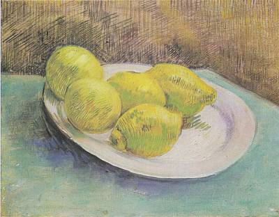 Still Life With Lemons On A Plate Art Print by Vincent Van Gogh