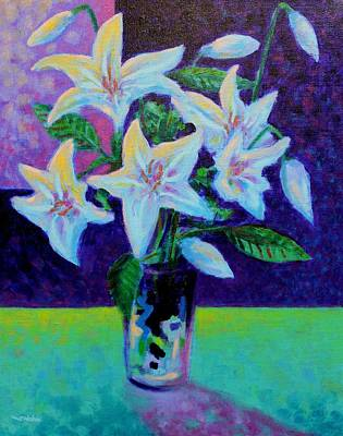 Perspective Painting - Still Life With Lilies by John  Nolan