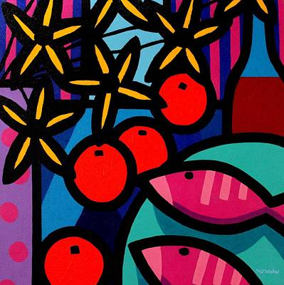 Cadmium Red Painting - Still Life With Magenta Fish by John  Nolan