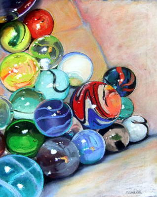Still Life With Marbles 07 Art Print by Sue Gardner