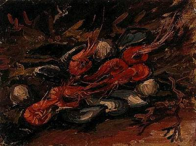 Post It Digital Art - Still Life With Mussels And Shrimps by Vincent Van Gogh