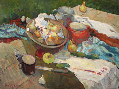 Lif Painting - Still Life With Onions And Cucumbers by Juliya Zhukova