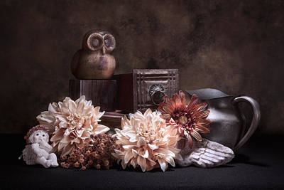 Still Life With Owl And Cherub Art Print by Tom Mc Nemar