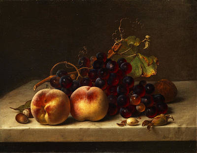 Still Life With Peaches And Grapes Art Print by Johann Wilhelm Preyer