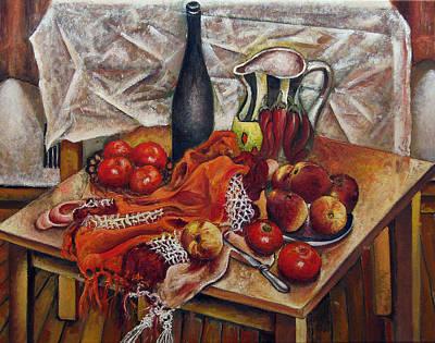 Still Life With Peaches And Tomatoes Art Print by Vladimir Kezerashvili