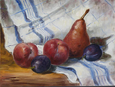 Still Life Painting - Still Life With Plums And Pear by Irek Szelag