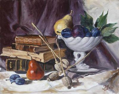 Still Life Painting - Still Life With Plums by Irek Szelag