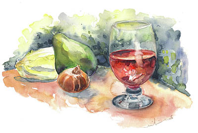 Red Wine Drawing - Still Life With Red Wine Glass by Miki De Goodaboom
