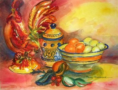 Still Life With Rooster Art Print by Nancy Brennand