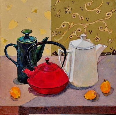 Teapot Painting - Still Life With Teapots by Liubov Meshulam Lemkovitch