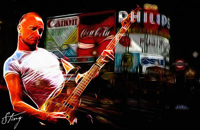 Guitar Stings Digital Art - Sting Rocks London by Steve K