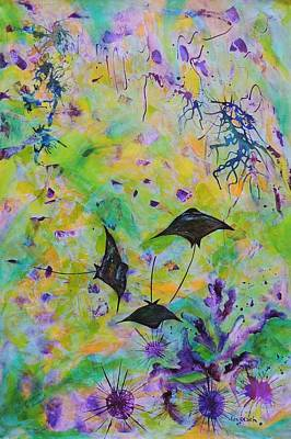 Art Print featuring the painting Stingrays And Coral by Lyn Olsen