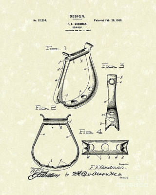 Westerns Drawing - Stirrup Design 1900 Patent Art by Prior Art Design