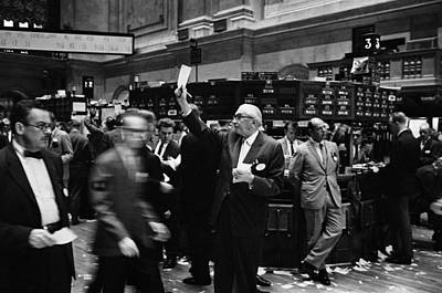 Stock Brokers Working On The Trading Art Print by Everett