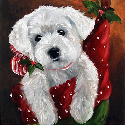 Terriers Painting - Stocking Stuffer by Mary Sparrow
