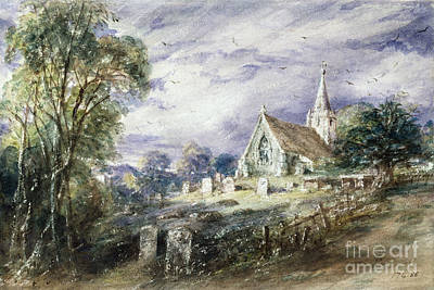 Stoke Painting - Stoke Poges Church by John Constable