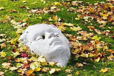 Stone Autumn Face Print by Aleksandr Volkov