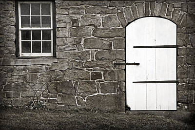 Too Cute For Words - Stone Barn Window Cathedral Door by John Stephens