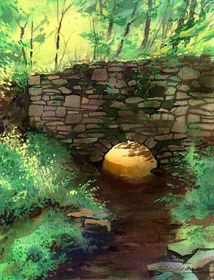 Painting - Stone Bridge Remnants by Sergey Zhiboedov