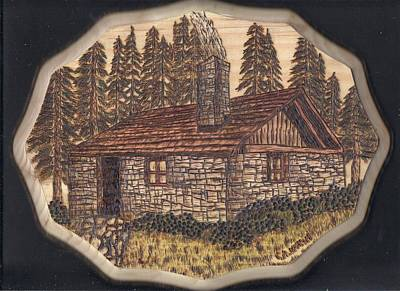 Pyrography Pyrography - Stone Cabin by Clarence Butch Martin