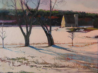 New England Snow Scene Painting - Stone Church  In Winter by Sid Solomon