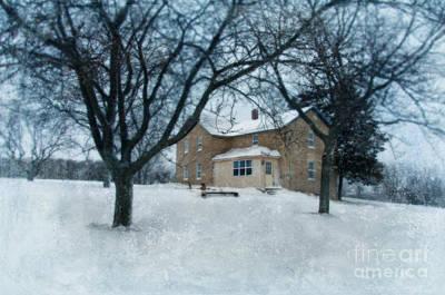 Stone Farmhouse In Winter Art Print by Jill Battaglia