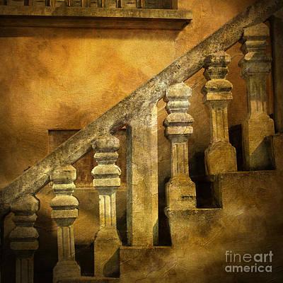 Stone Stairs And Balustrade. Art Print by Bernard Jaubert