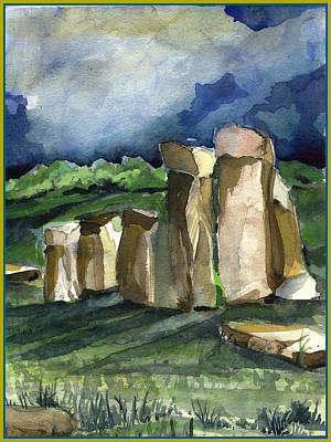 Morning Light Drawing - Stonehenge In The Light by Mindy Newman