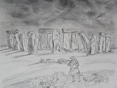 Drawing - Stonehenge Study by Brian Hustead