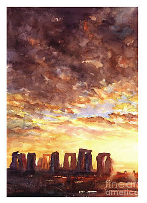 Stonehenge Sunrise Art Print by Ryan Fox