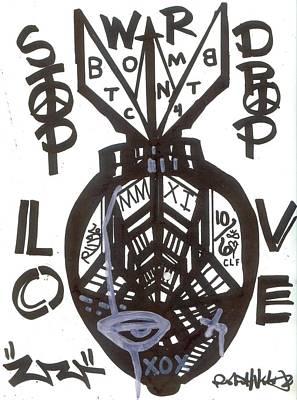 Modernism Mixed Media - Stop Drop Love by Robert Wolverton Jr