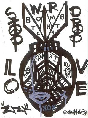 Folk Art Mixed Media - Stop Drop Love by Robert Wolverton Jr