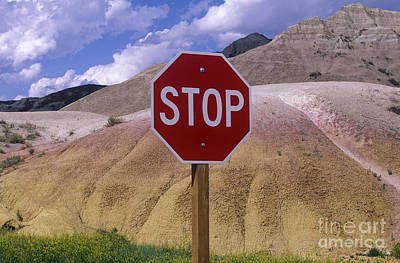 Stop Sign Photograph - Stop Sign In South Dakota Badlands by Will & Deni McIntyre