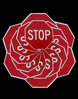 Stop Sign Digital Art - Stop Sign Kalidescope by Denise Keegan Frawley