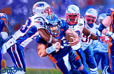 Tebow Painting - Stopping Tebow by Donovan Furin