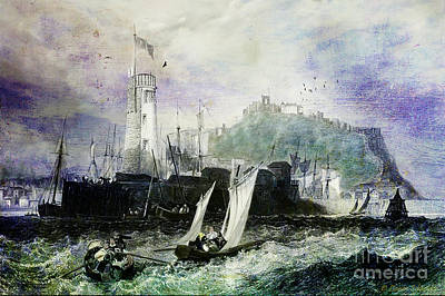 Storm At Scarborough Art Print by Lianne Schneider