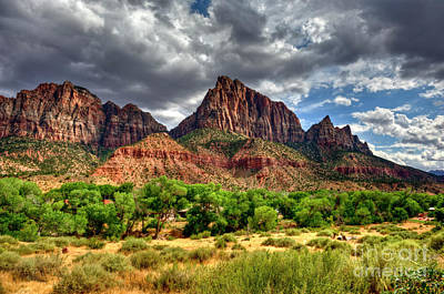 Storm Brewing In Desert Art Print by Rod Wiens