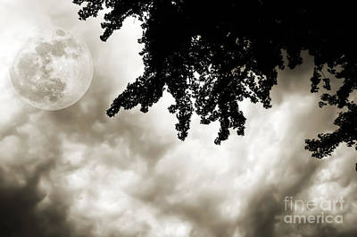 Photograph - Storm Clouds Over A Super Moon Night 2 by Andee Design
