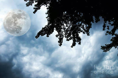 Photograph - Storm Clouds Over A Super Moon Night by Andee Design