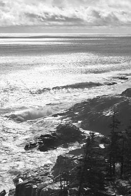 Storm Clouds Photograph - Storm Hits Rocky Seascape Of Acadia National Park Black And White Photograph by Keith Webber Jr