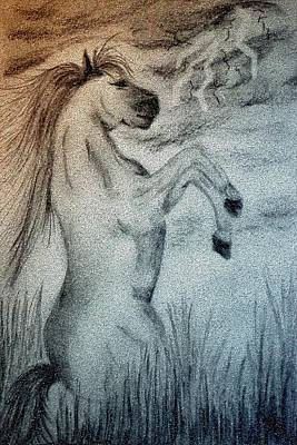 Horse Lovers Drawing - Storm by Maria Urso