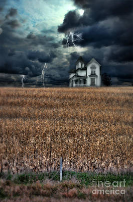 Storm Over Farmhouse Art Print