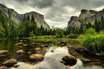 Cathedral Rock Photograph - Storm Over Valley View, Yosemite National Park by Andrew C Mace