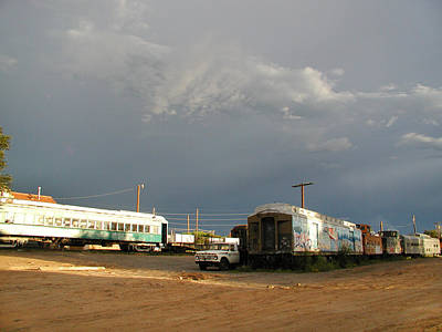 Photograph - Storm Sky Over The Old Railyard by Kathleen Grace
